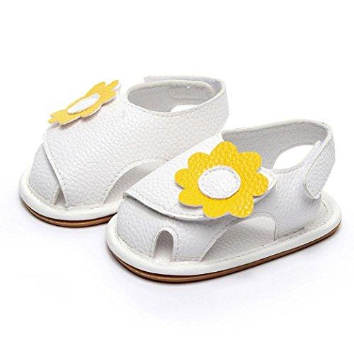 Jamicy® Neugeborenes Baby Mädchen Jungen Sommer Schuhe Weiche Sandalen Anti-Rutsch-Turnschuhe 0-24 Monate Weiß