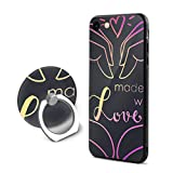 SJDEI5W Made with Love Mobile Phone Ring Stent + iPhone 8 Case/iPhone 7 Case, PC Rubber Case Compatible iPhone 8 2017/ iPhone 7