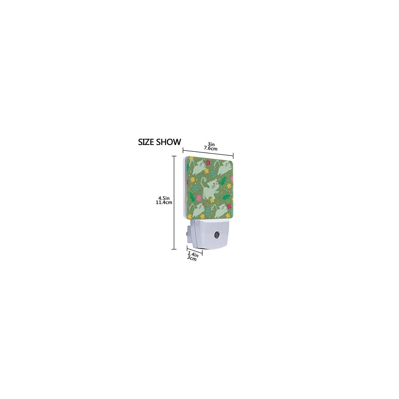 MNSRUU 2 PC Plug-in LED Night Light Lamp Cartoon Cute Cat and Flower Printing with Dusk to Dawn Sensor for Bedroom, Bathroom, Hallway, Stairways, 0.5W