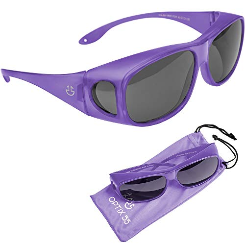 Wrap Around Sunglasses, UV Protection to Wear as Fit Over Glasses - Unisex Matte Black with Smoked Lenses - Polarized or Regular - by Optix 55 (Purple, Black - ()