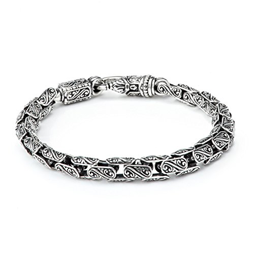 Konstantino Men's Silver with Carved Oval Links Bracelet