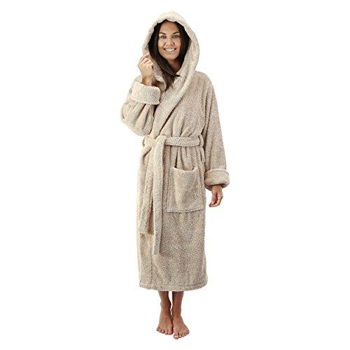 Comfy Robes Women's Deluxe 20 oz. Turkish Cotton Hooded Bathrobe, XS Beige