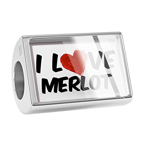 - NEONBLOND Charm I Love Merlot Wine 925 Sterling Silver Bead