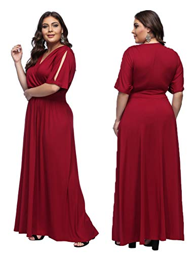 Chic V S Feelingirl Longue Jupe Col Robe Maxi Dentelle Taille Rouge En Elégant Soirée Grande 6xl Femme Charmant Ywg7ZYq