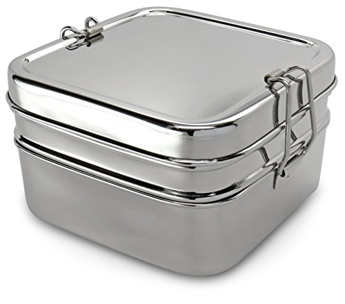 Lifestyle Block Stainless Steel Double Layer 2 Compartment Lunch Box - Compare to Eco Lunchbox