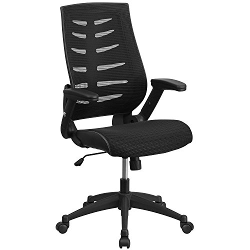 Flash Furniture High Back Designer Black Mesh Executive Swivel Chair with Height Adjustable Flip-Up Arms