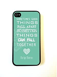 For iPhone 4 Case - Protective Case for iPhone 4/4s Case Marilyn Monroe Quote Love Turquoise