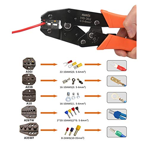 Insulated Terminals Ferrules Crimping Plier Ratcheting Crimper Tool w// 5 Dies US
