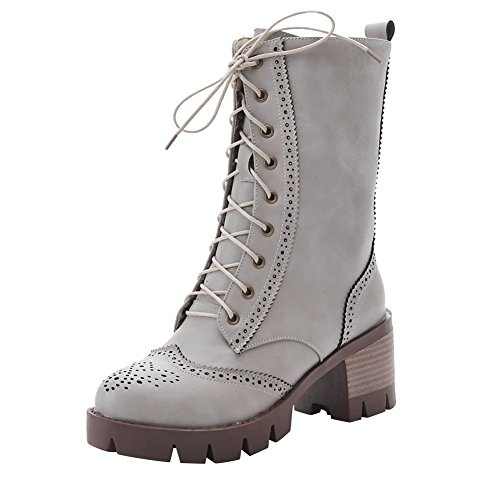 Carolbar Womens Lace Up Fashion Combat Mid Heel Autunno Moto Stivali Grigi