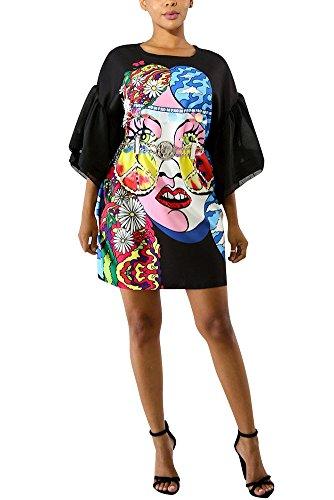 Remxi Women Graffiti Puff Sleeve Party Club Loose T-Shirt Mini Dress Above Knee