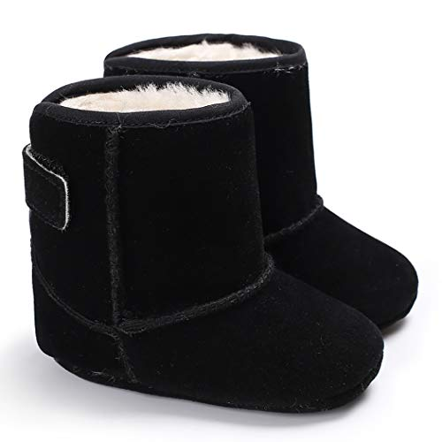 Cindear Infant Baby Boys Girls First Walker Shoes Suede Faux-Fur Lined Warm Winter Snow Boots for Newborn Baby Crib Shoes 1011 Black 0-6 ()