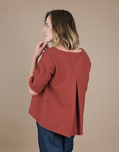 Women's Short Sleeve Brick Wool Sweater - Pleats Wool Sweater