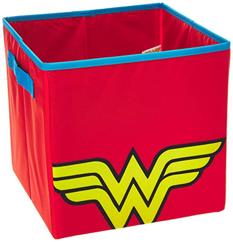 Everything Mary Con Wonder Woman Collapsible Storage Bin by DC Comics-Cube Organizer for Closet, Kids Bedroom Box, Playroom Chest-Foldable Home Decor Basket Container with Strong Handles and, ()