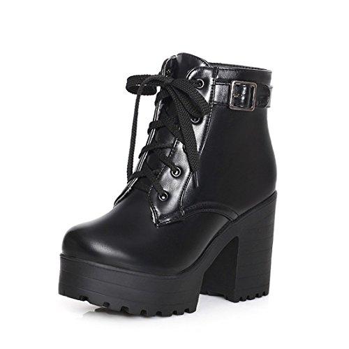 Milesline Fashion Women Lace Up Chunky Heel Lug Sole Platform Combat Ankle Bootie