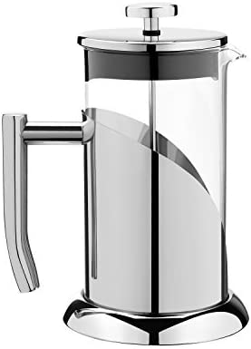 ANGELICA Stainless Steel Glass French Press Coffee Maker Tea Infuser, 34oz, 1000ml, 3 Mug – Sturdy Eco Friendly Design, Easy to Clean with Free Scoop How to Use Brew Guide