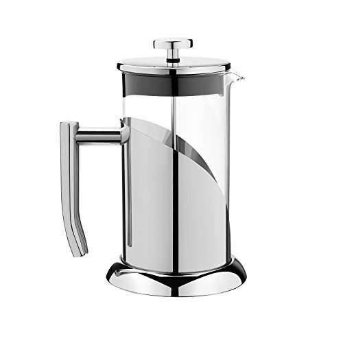 ANGELICA Stainless Steel & Glass French Press Coffee Maker & Tea Infuser, 34oz, 1000ml, 3 Mug - Sturdy Eco Friendly Design, Easy to Clean with Free Scoop & How to - Links Carafe