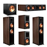 Klipsch 5.1 Walnut System 2 RP-8000F Floorstanding Speakers, 1 Klipsch RP-504C Center Speaker, 2 Klipsch RP-600M Surround Speakers, 1 Klipsch SPL-120 Subwoofer