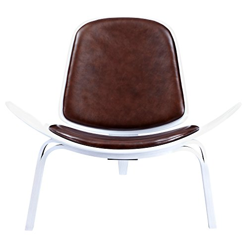 NyeKoncept 224441-A Aged Cognac Shell Chair, White from NyeKoncept