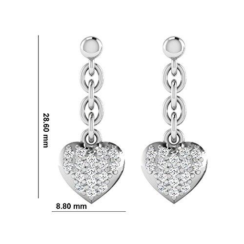Libertini Boucle d'oreille argent 925 plaque or Jaune serti de Diamant en forme de Coeur