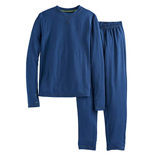 Boys Winter Base-Layer Thermal Underwear top and Bottom Set with Thumbhole, Navy S (6-7)