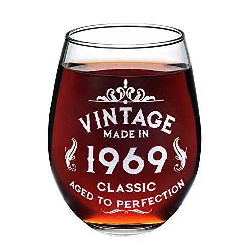 1969 50th Birthday Wine Glass for Women and Men, Birtyday Gift, Any Anniversary Gift with 530 ml, Aged to Perfection Wine Glass[1 -