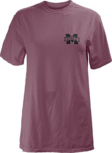 Three Square by Royce Apparel NCAA Mississippi State Bulldogs Legacy Short Sleeve Garment Washed T-Shirt, Medium, - Square Logo State Mississippi