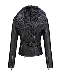 Bellivera Womens Faux Fur Collar Leather Short Jacket