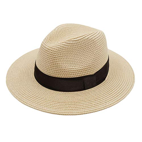 (ZOORON Women Straw Fedora Hat [2pack], Panama Beach Sun Hat Summer Wide Brim Straw Floppy Hat UPF 50+ (A-Beige))