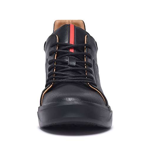 ARTISURE Men's Classic Black Genuine Leather High-Top Casual Sneakers Fashion Ankle Boots 10 M US SKS-1019HEI100 by ARTISURE (Image #4)