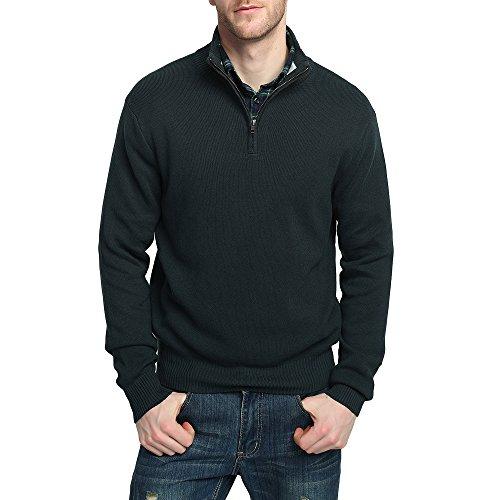 Kallspin Men's Relax Fit YKK Quarter Zip Mock Neck Wool Cotton Sweater Pullover with YKK Zipper (M, Deep Blue)
