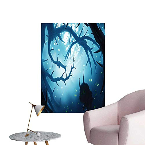 Modern Decor Animal Burning Ey in at Night Horror Halloween Navy White Ideal Kids Decor or Adults,12