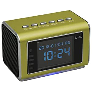Jumbl Mini Hidden Surveillance Spy Nanny Camera Radio Clock with Infrared Night Vision – Built-In Screen, Speaker, Micro SD Slot and AUX Line In - Standalone Operation - Green
