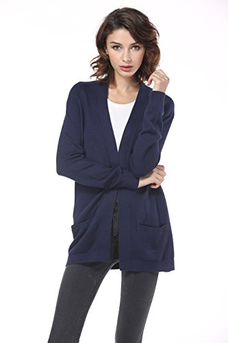 Navy Cardigan Sweater - Knitbest Women's Long Chunky Cable Boyfriend Pocket Cardigan (X-Large, Navy)