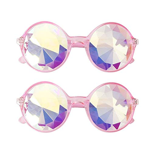 2Packs Kaleidoscope Rainbow Glasses Prism Refraction Goggles Cosplay Goggles Sunglasses For Women