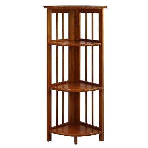 Casual Home 4 Shelf Corner Bookcase, Honey Oak - Mission Style Corner