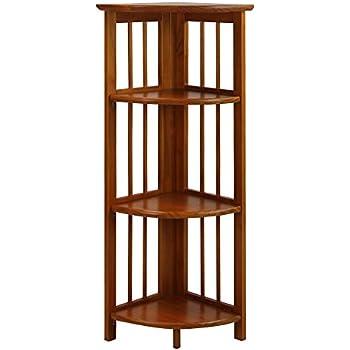 Casual Home 315 15 4 Shelf Corner Folding Bookcase, Honey Oak