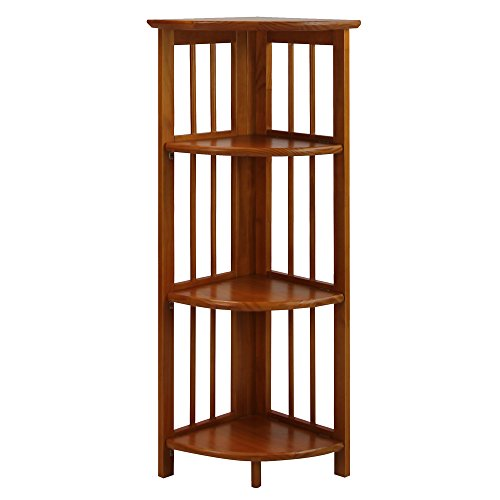 Casual Home 315-15 4-Shelf Corner Folding Bookcase, Honey Oak - Honey Display