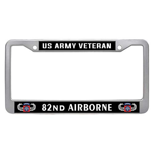 US Army Veteran 82nd Airborne Division License Plate Frame Holder, Custom Stainless Steel Car Auto Tag ()