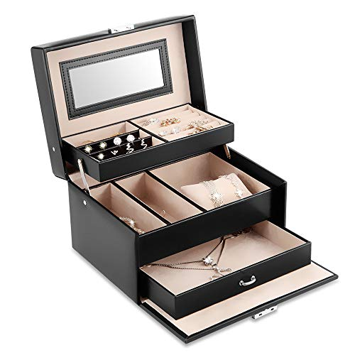 Kealive Jewelry Organizer, PU Leather Jewelry Box Mirror & Lock Women Suits Rings, Necklaces, Bracelets, Earrings, Ear Studs, Hairpins Brooches
