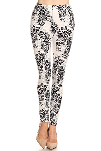 Leggings Mania Womens Floral Print Soft and Stretchy Leggings White Black, Floral Print Ivory, One (Ivory Flower Tights)