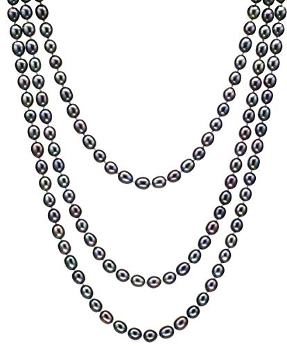 HinsonGayle AAA Handpicked 8-8.5mm Multicolor Black Oval Freshwater Cultured Pearl Rope Necklace 65 inch