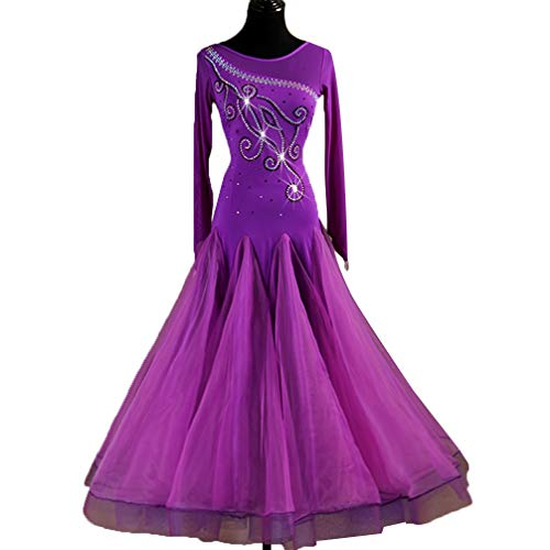 Tango Abiti Abito Liscio Per Ballo Lunghe Competizione Valzer Tuta Wqwlf Da Maniche Xl Le Purple Prestazione Standard Donne s ZPq7Exd