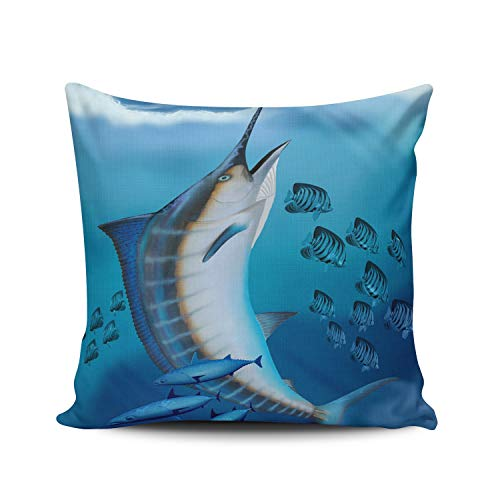 Blue Marlin Pillow - WULIHUA Decorative Throw Pillow Covers Blue Marlin Fish European Outdoor Cushion Cover Pillowcase Size 26x26 Inch Simple and Elegant Design