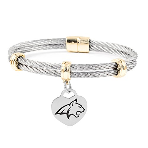 (Montana State University Bobcats Charm Bracelet | Stainless Steel Magnetic Clasp Bangles)