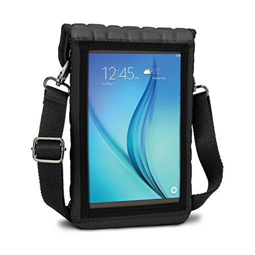 7 Inch Tablet Case Neoprene Sleeve Cover w/ Built-in Screen Protector & Carry Strap by USA Gear (Gray) Fits 2017 Samsung Galaxy Tab A2 S 8