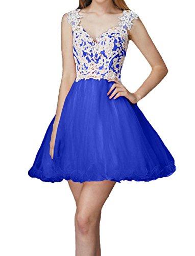 Spitze Kurz Partykleider Ballkleider Royal Jugendweihe Charmant Kleider Blau Mini Cocktailkleider Abendkleider Damen 1q4EaxHnwU