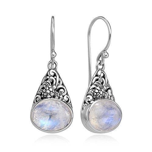 925 Sterling Silver Filigree Moonstone Gemstone Oval Shaped Dangle Hook Earrings 1.3