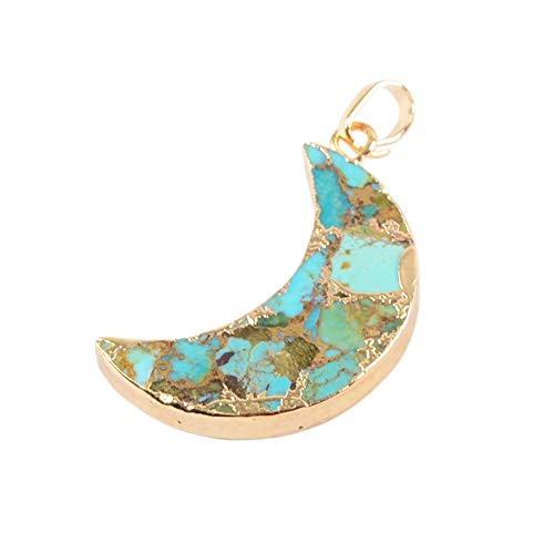 - ZENGORI 1 Pcs Gold Plated Copper Natural Turquoise Moon Pendant for Unisex G1682