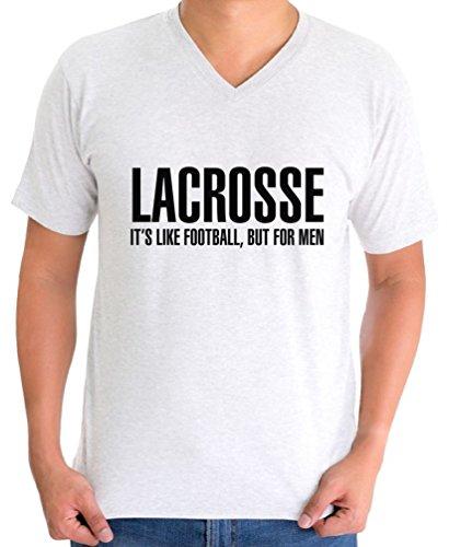 Awkward Styles Men's Lacrosse It`s Like Football But for Men V-Neck T Shirt Tops Sport White 2XL ()