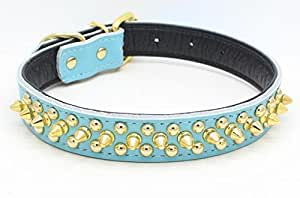 Benala Soft Genium Leather Gold Spiked Studded Pet Puppy Dog Collar For Small Medium Dogs Size S M L 5 Colors
